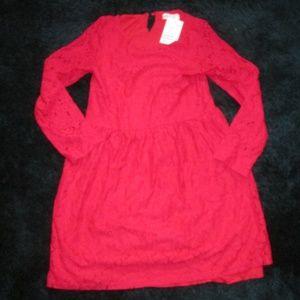 NWT - H&M - Red Longsleeve Floral Print Dress